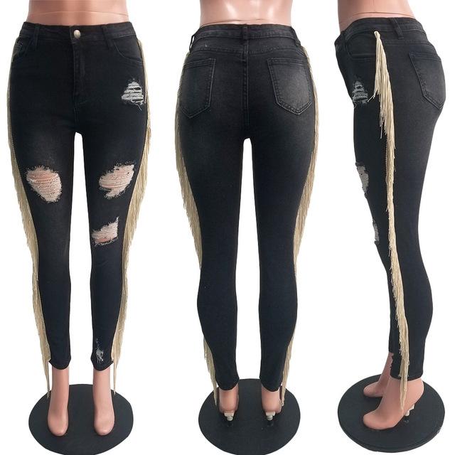Echoine Plus Size Slim Bodycon Ripped Jeans Light Blue Denim Pants Fringe Tassel Women Trousers Pencil Pants Streetwear