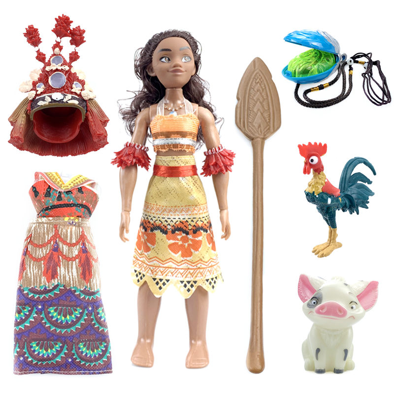 Image 5 - Disney Toys Movie Moana Waialiki Maui 20cm Doll Model with Music Action Figure Cosplay Childrens Birthday Gift Christmas GiftAction & Toy Figures   -