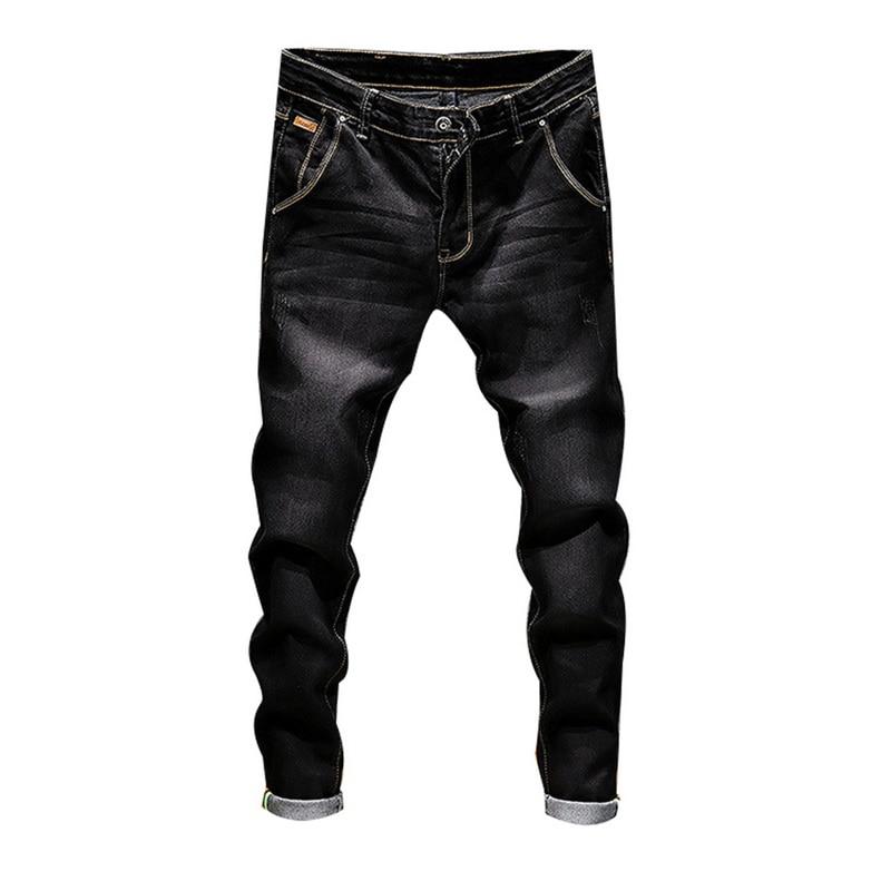 Sfit Stretch Denim Pants Solid Slim Fit Jeans Men Casual Biker Denim Jeans Male Street Hip Hop Vintage Trouser Skinny Pant