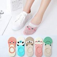 2020 nova chegada 5 pares de algodão curto meias femininas bonito adorável feliz dos desenhos animados gato engraçado chinelos barco invisível meias