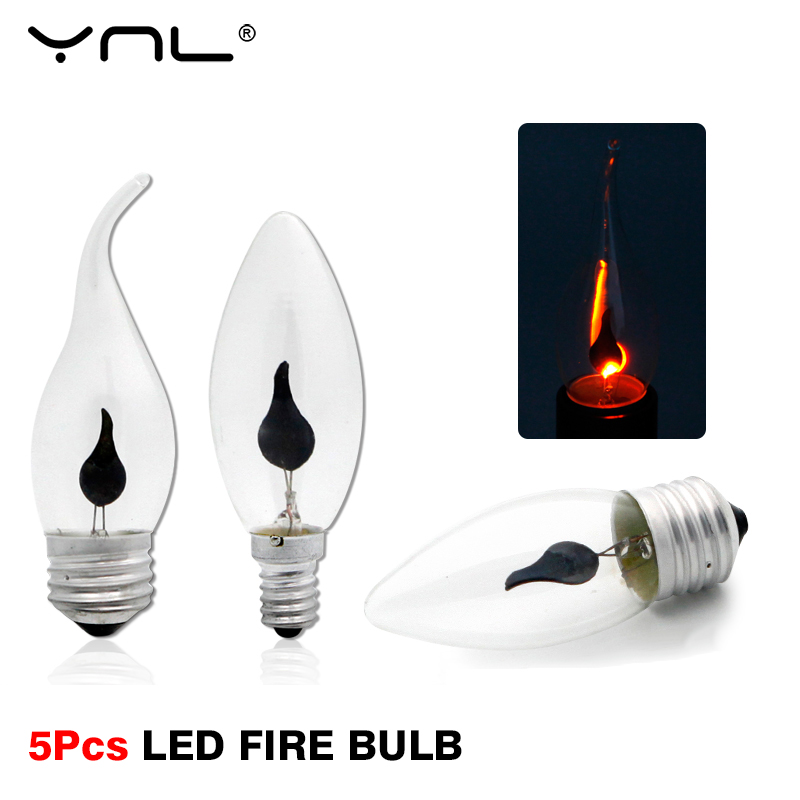 5Pcs E14 E27 LED Edison Bulb <font><b>3W</b></font> <font><b>220V</b></font> Candle Light Flame Bulb Vintage Fire Lighting Flickering Effect Lampada Flame Retro Lamp image