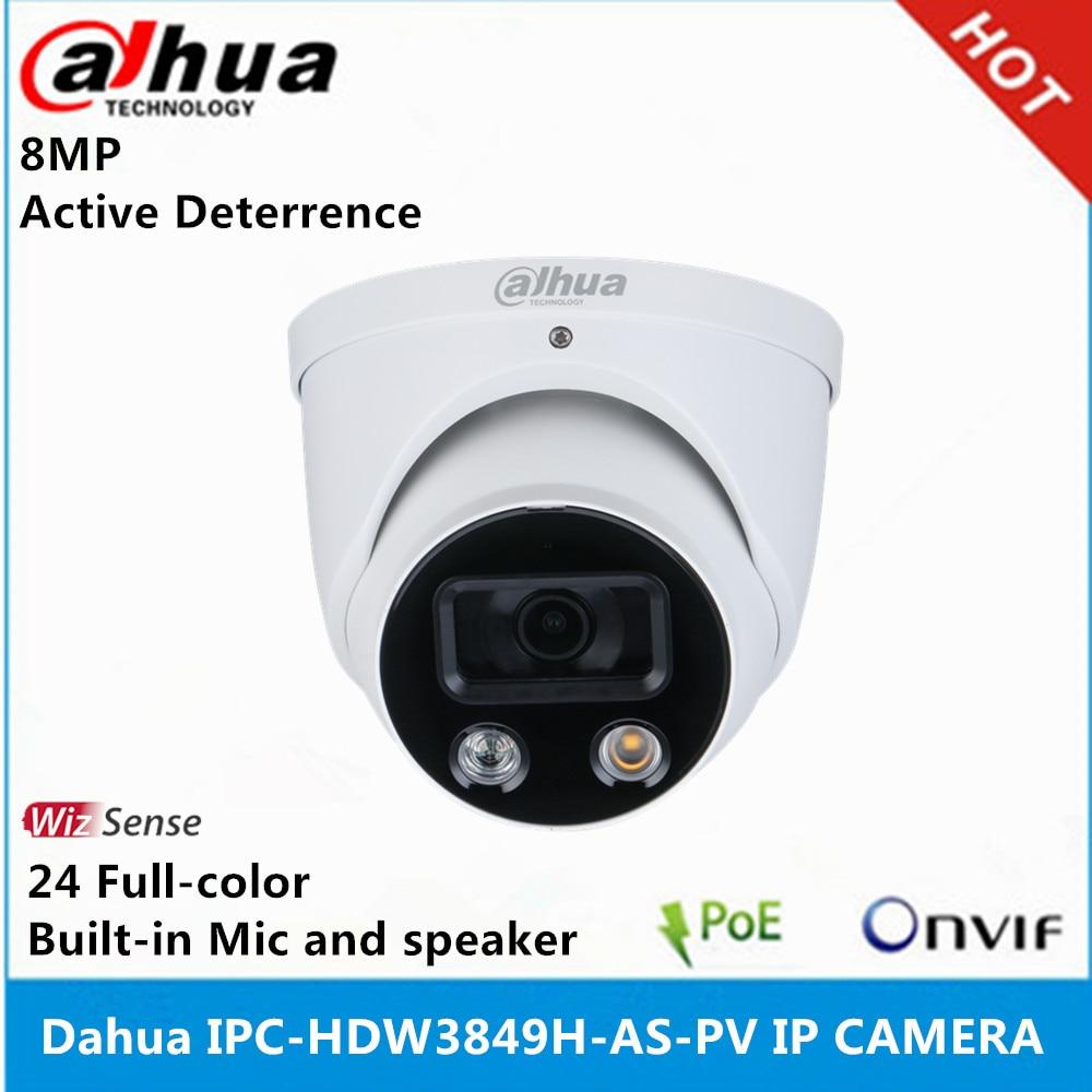 IP-камера Dahua 4K IPC-HDW3849H-AS-PV, 8 Мп, 24 часа, полноцветное активное сдерживание, сетевая камера с фиксированным фокусным глазным яблоком WizSense