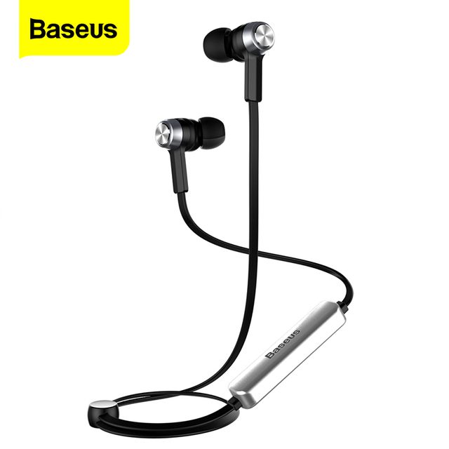 BASEUS MAGNET หูฟังไร้สายบลูทูธหูฟังสำหรับ iPhone X 8 7 Samsung Sport ชุดหูฟังไร้สายพร้อมไมโครโฟนหูฟังสเตอริโอ