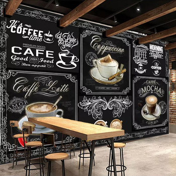 Custom 3D Photo Mural Wallpaper European Style Retro Hand Painted Blackboard Coffee Restaurant Cafe Decor Wallpaper Painting цена 2017