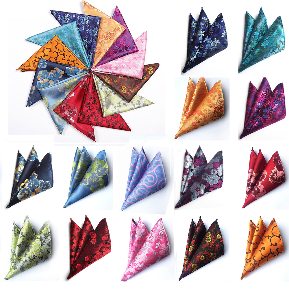 Mens Pocket Square Floral Print Hanky Wedding Party Handkerchief Bright Color