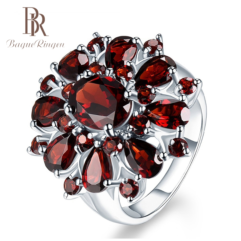 Bague Ringen Top Brand Dark Red Ruby Gemstone Flower Shape Wedding Ring Silver 925 Jewelry Rings For Women Wholesale Party Gifts