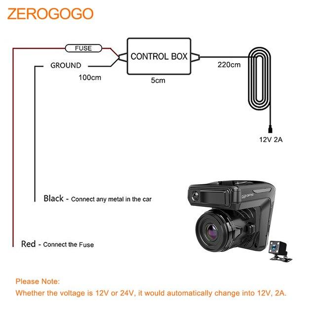 Kit de cable duro ZEROGOGO adaptador de coche de 24V a 12V convertidor de inversor de corriente de Puerto CC de 3,5mm 2,5mm para Detector de Radar 3 en 1/DVR/Dashcam