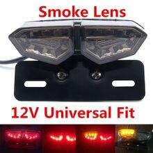 Smoke Turn Signal Motorcycle Fog Light Tail Brake Stop Single Rear Lights Dual Color LED Indicator License Plate Lamp