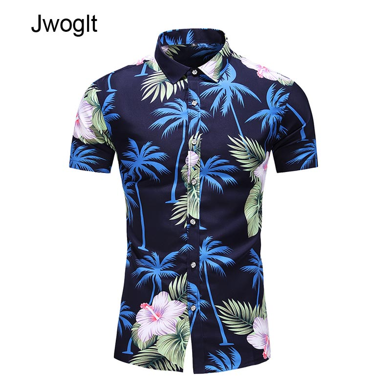 45KG-120KG Summer Fashion Men's Button Down Short Sleeve Beach Hawaiian Shirt 5XL 6XL 7XL