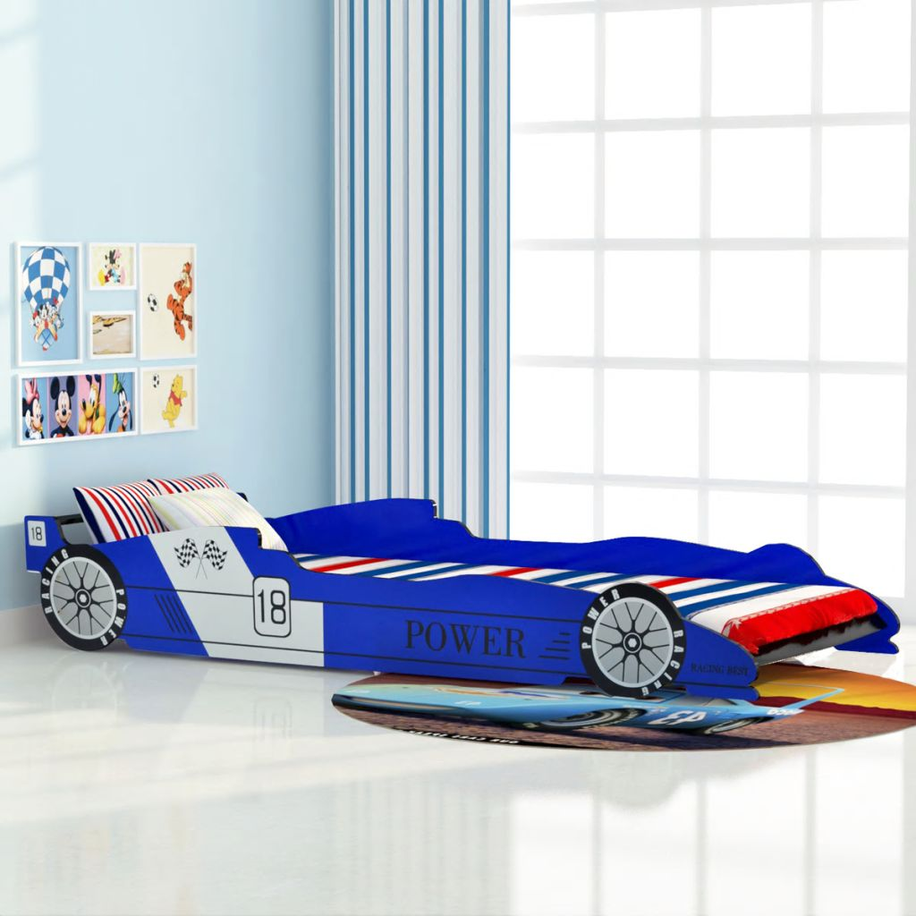 VidaXL Children's Race Car Bed 90x200 Cm Blue