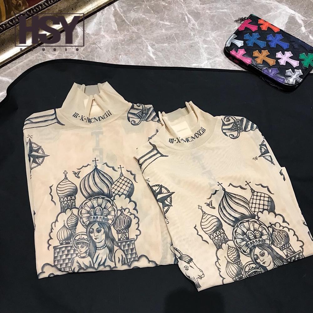 T shirt hsy19 2019 otoño nueva moda mujer Basal superior diosa tatuaje estampado manga larga cuello alto apretado Color desnudo malla hilo camiseta - 2