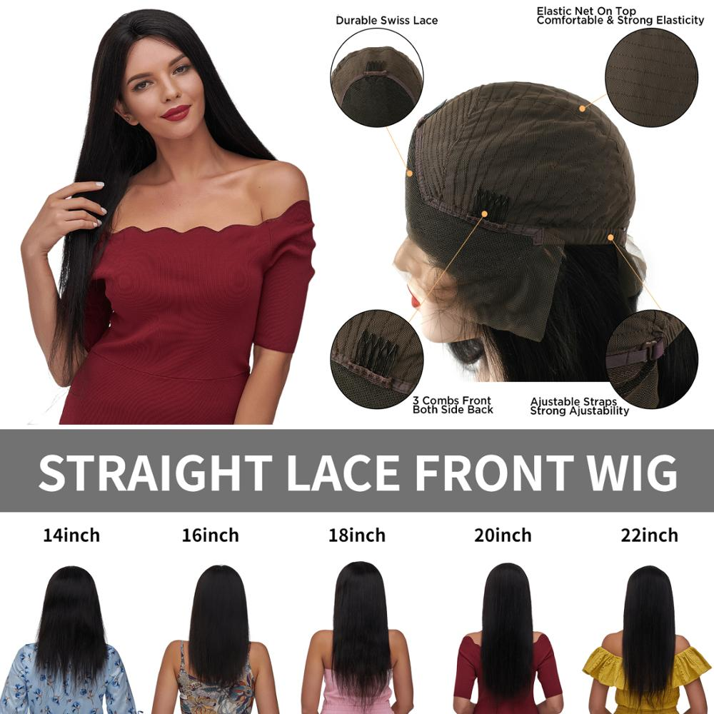 AW 14''-22'' Straight Lace Front Wig Transparent HD Pre Plucked Hairline With Baby Hair Lace Frontal Remy Hair Wig 150% Density