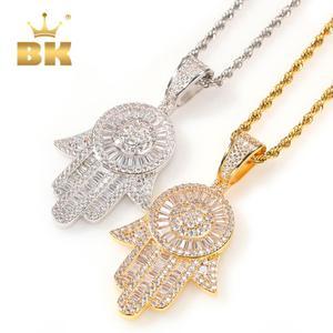 THE BLING KING Sliver oczy anioła naszyjnik Fatima's Hand religia miedź pełna mrożona cyrkonia złota biżuteria nowy