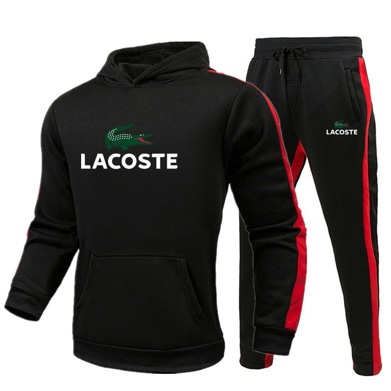 Lacoste- Autumn New Hoodies Sweatshirts Sporting Sets Men's Tracksuits Two Piece Hoodies+Pants 2pcs Sets Men Clothing Set