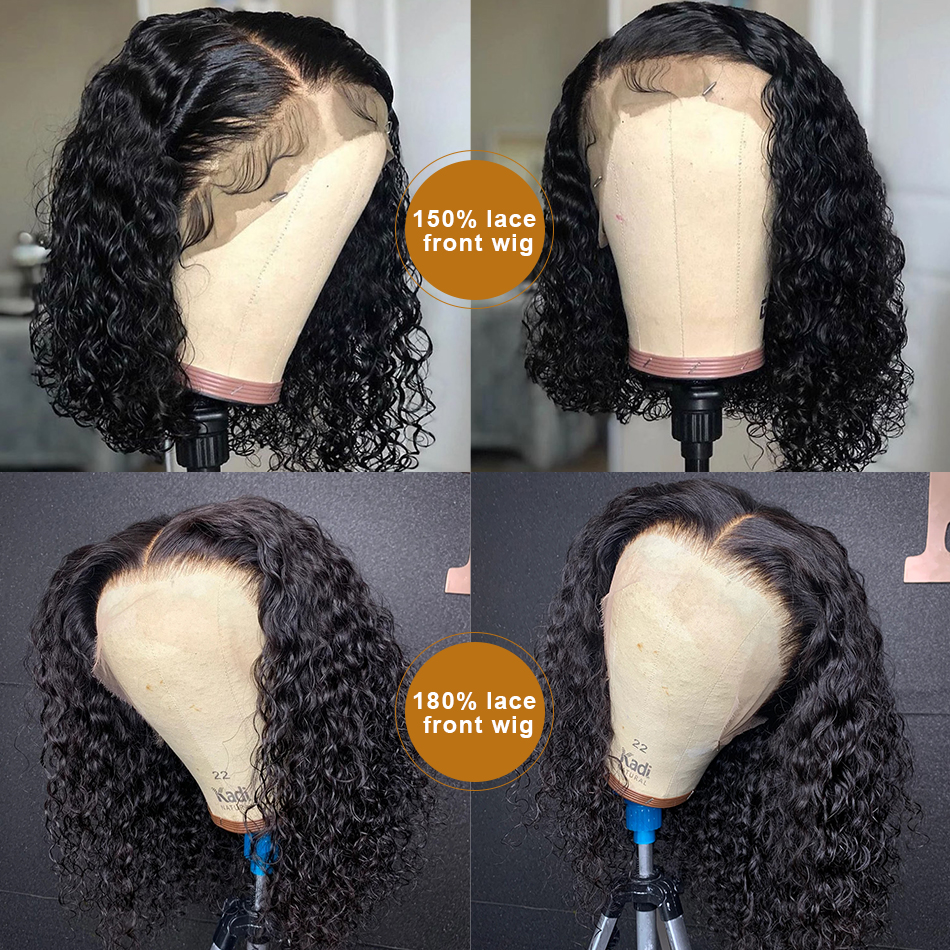 Goldenwigs Brazilian 13x4 Lace Front Human Hair Wigs Pre Plucked With Baby Hair Deep Wave 150% Short  Water Curly Bob Wigs For WomenBrazilian 13x4 Lace Front Human Hair Wigs Pre Plucked With Baby Hair