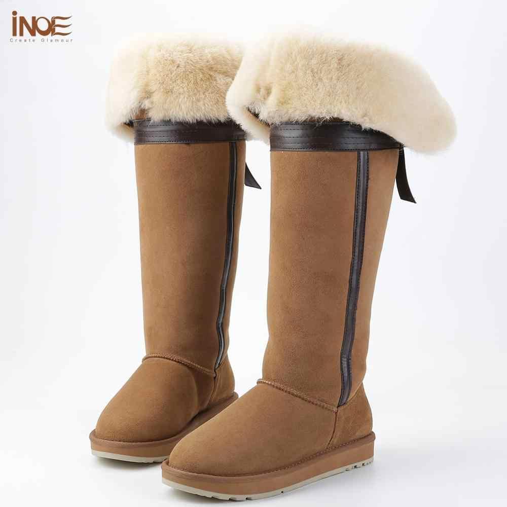 Moda stil diz yüksek ilmek uzun kürk astarlı uzun kar botları kadın kışlık bot ayakkabı doğa koyun derisi deri