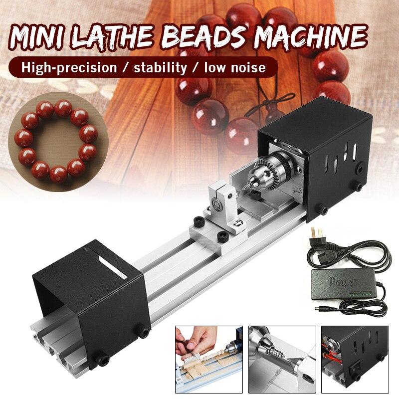 100W Mini Lathe Beads Machine DIY Woodworking Lathe Polishing Grinding Drill Tool Carving Cutter Wood Lathe Polishing Drill Tool