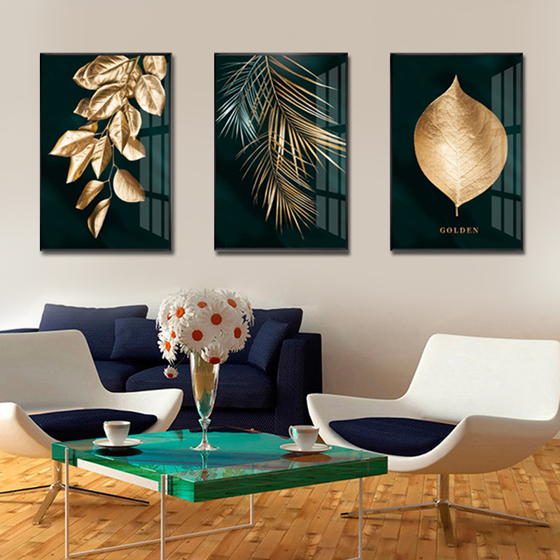 Modern Plant Gold Leaf Leaves Canvas Painting Wall Posters Art Prints Home Decor