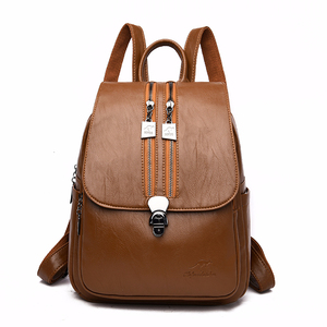 Image 1 - 2019 Solid Leather Backpacks Female Travel Large Capacity Backpack School Preppy Style Women Backpack Laptop Sac a Dos Rusksacks