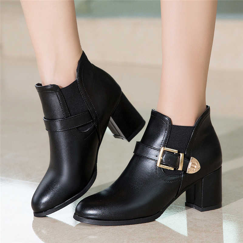 Winter Boots Women Retro Solid Round Toe Large Size Buckle Mid Heel Boots Ankle Leather Bota Feminina Neve Impermeavel #5