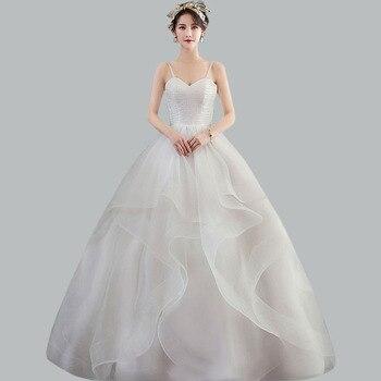 Elegant Wedding Dress CR690 Tiered Pleat Wedding Dresses Strapless Sexy Bridal Gowns Spaghetti Strap Vestidos De Novia 2020