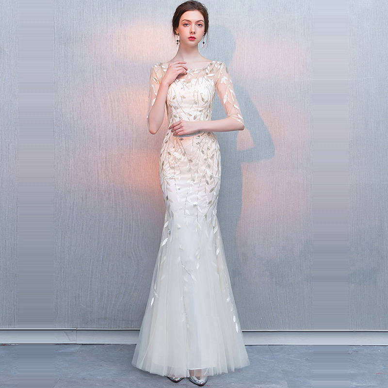 Evening Dress Floor Length Elegant Women Party Dresses Backless Sequin Robe De Soiree O-neck Half-sleeve Formal Gowns 2019 F206