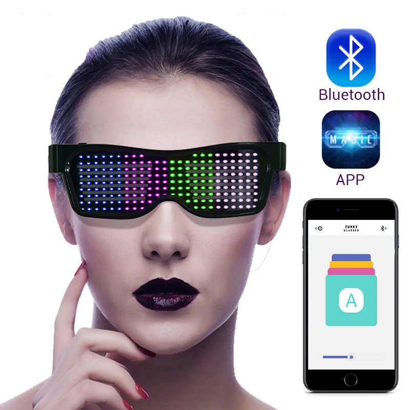 Magia Bluetooth Led Vetri Del Partito App di Controllo Occhiali Luminosi Usb Carica Fai da Te Modificare Multi-Lingue Rapido Flash Led