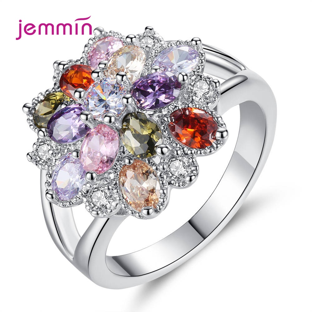 Muti-color Flower CZ Stackable Ring For Women Engagement / Party Elegant 925 Solid Silver Retro AAA Cubic Zirconia Jewelry Gift