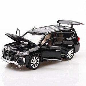 Image 3 - 1:24 Diecast Lexus lx570 Off road pojazdu Suv symulacja aluminiowy Model samochodu 6 drzwi dźwięk światło samochód z napędem Pull Back zabawki dla dzieci ozdoby