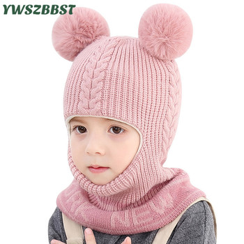 New Autumn Winter Knitted Baby Hats with pompom balls Windproof Plus Velvet Boys Girls Hooded Hat Scarf Kids Hat Baby Cap keying baby sleeping bags velvet with cap 2017 autumn