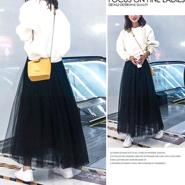 OHRYIYIE Maxi Long Tulle Skirt Women 2021 High Waist Ball Gown Skirts Summer Elastic Waist Adult Tutu Skirts Jupe Longue Femme 5