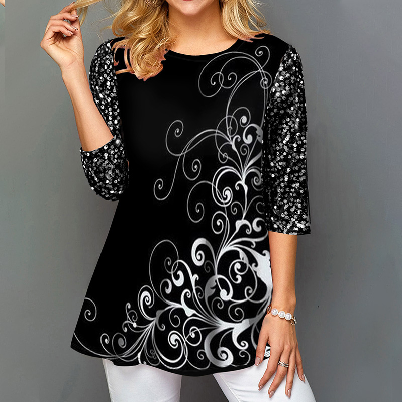 2021 Summer Printed Women's Tunics Blouses Women Black Half Sleeve Female Tops...