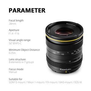 Image 4 - Kamlan 28mm f1.4 와이드 앵글 APS C 미러리스 카메라 용 대형 조리개 수동 Fo cus 렌즈