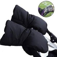 Baby Winter Stroller Gloves Hand Muff Pram Accessories Waterproof Pushchair Cover Fur Mittens Phone Pocket Hook