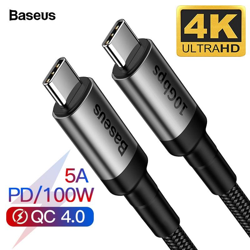 Baseus USB 3.1 Tipo C Para C USB Cabo Para MacBook Pro 100W PD Carga Rápida 4.0 3.0 Para samsung Xiaomi Redmi S10 K20 USBC Carregador