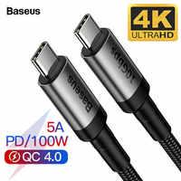 Câble Baseus USB 3.1 Type C à USB C pour MacBook Pro 100W PD Charge rapide 4.0 3.0 pour Samsung S10 Xiaomi Redmi K20 chargeur USBC