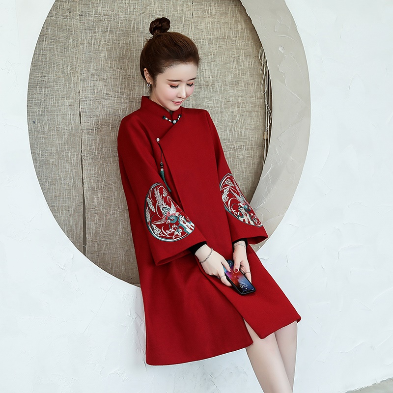 Red Cheongsam Dress Autumn And Winter Chinese Style Retro Elegant Modern Qipao Dress 2019 Women New Year Plus Size Xl 5Xl FF2285