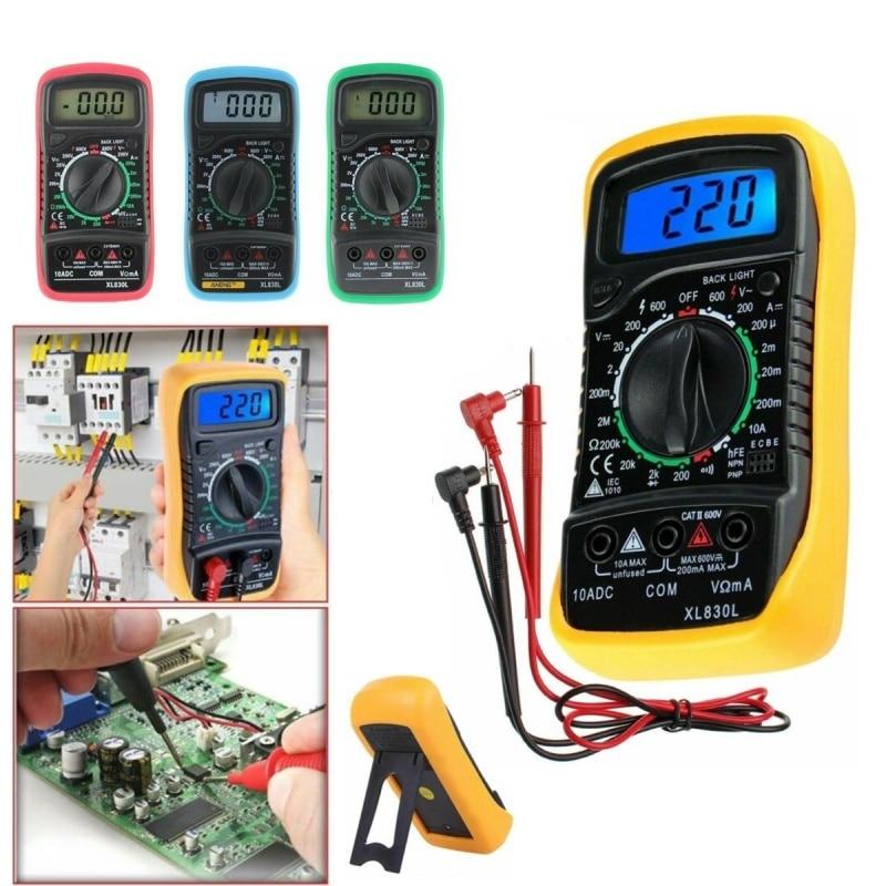 XL830L High Safety AC/DC Multimeter LCD Digital Volt Amp Ohm Tester Meter Voltmeter Ammeter Overload Protect With Probe