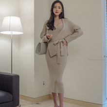 2020 New High quality winter Women's Long Sleeved Cardigan + Suspenders Sweater Vest Dress Two Piece Runway Dress Suit DG642(China)