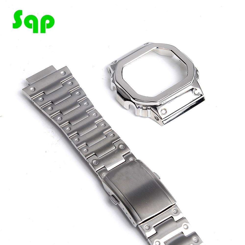 Sqp Watch Modification Silver Watchband Bezel/Case DW5600 GW-M5610 Metal 316L Stainless Steel Strap Belt Birthday Gift