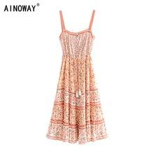 Vintage chic women floral print sleeveless beach Bohemian tassel  Strapless midi dress Ladies Summer rayon Boho dress vestidos