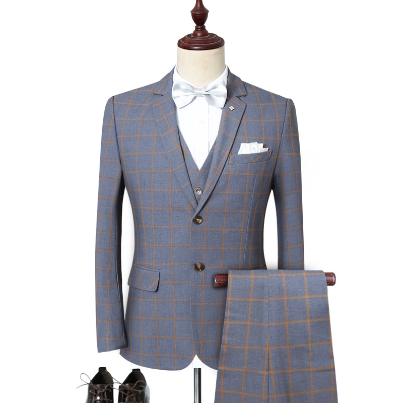 3 Piece Plaid Men Suits Checkered British Wedding Suits For Men Slim Fitted Grey Red Black Casual Social Suit Sets Plus Size