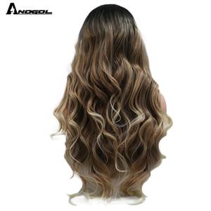 Image 4 - Anogol siyah Ombre kahverengi sentetik dantel ön peruk sarışın ipuçları uzun vücut dalga isıya dayanıklı peruk kadınlar için
