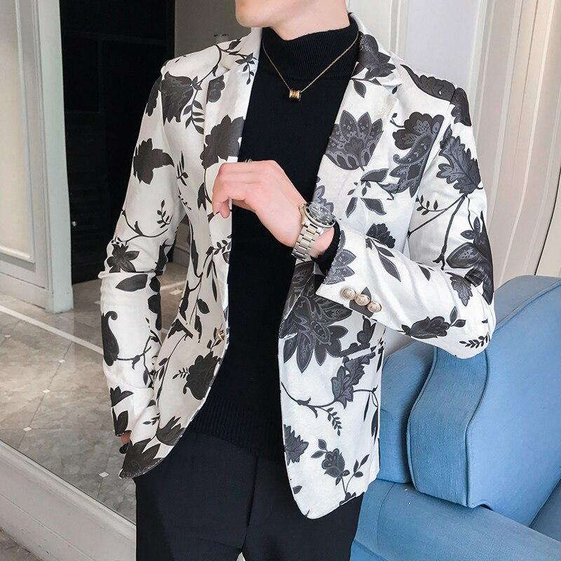 Men's Blazers And Suit Jackets Letter Print Costumes Dress Blazer Men Slim Fit Blue Red Black White