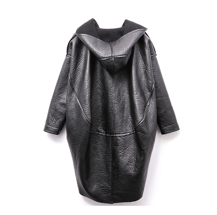 [EAM] Loose Fit Hooded Black Pu Leather Thick Oversize Jacket New Long Sleeve Women Coat Fashion Tide Autumn Winter 19 JG637 12