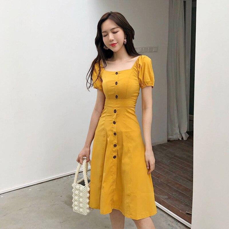 Trend Sexy Retro Slim Fit Square Collar Single Breasted Dress Elegant Versatile Short Sleeve Midi-skirt Children Fashion
