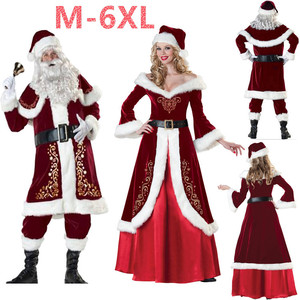 M-6XL Christmas Santa Claus Costume Cosplay Santa Claus Clothes Fancy Dress In Christmas Men 7pcs/lot Costume Suit For Adults(China)