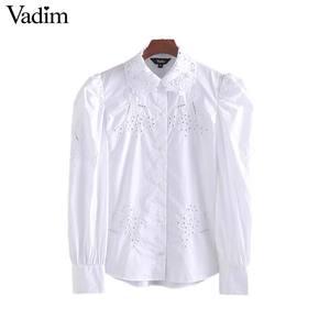 Image 1 - Vadim kobiety haft bluzka z wycięciami urząd nosić długi rękaw puff biała koszula stylowe damskie topy blusas mujer LB442