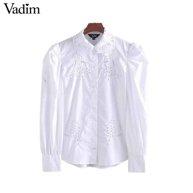Vadim kobiety haft bluzka z wycięciami urząd nosić długi rękaw puff biała koszula stylowe damskie topy blusas mujer LB442