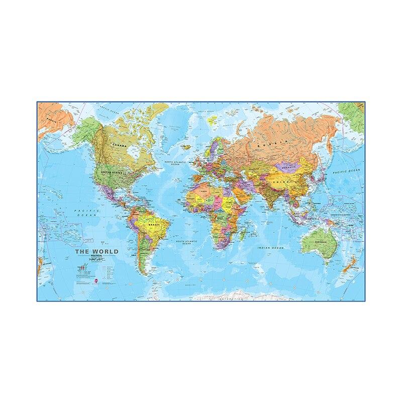 100x150 см карта мира, физическая карта, Нетканая карта мира без национального флага, настенное искусство для культуры и образования, офисное у...